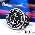 Beier 316L Stainless Steel ring  top quality anchor biker men Ring hot sale  Man's fashion jewelry  BR8-388