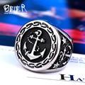 Beier anillo de acero inoxidable 316l de calidad superior de anclaje joyería de moda anillo del motorista de los hombres de la venta caliente del hombre br8-388