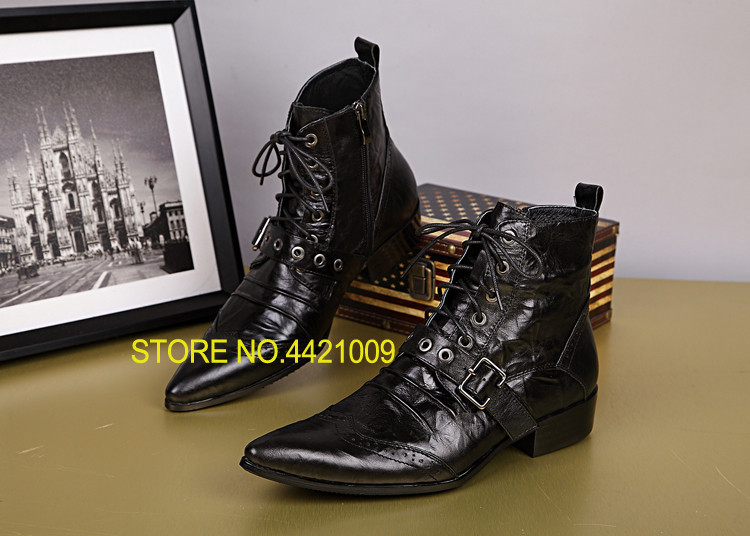 2018 Black Fashion Men Ankle Boots Pointed Toe Botas Hombre Lace Up Botas Militares Wedding Dress Shoes Mens Cowboy Boots handsome red genuine leather men ankle boots metal pointed toe mens wedding dress shoes high top botas hombre cowboy boots