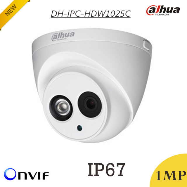 Wholesale Dahua 1mp IP Camera DH-IPC-HDW1025C Waterproof IP67 H.264 IR 50m Support Digital Noise Reduction and Onvif