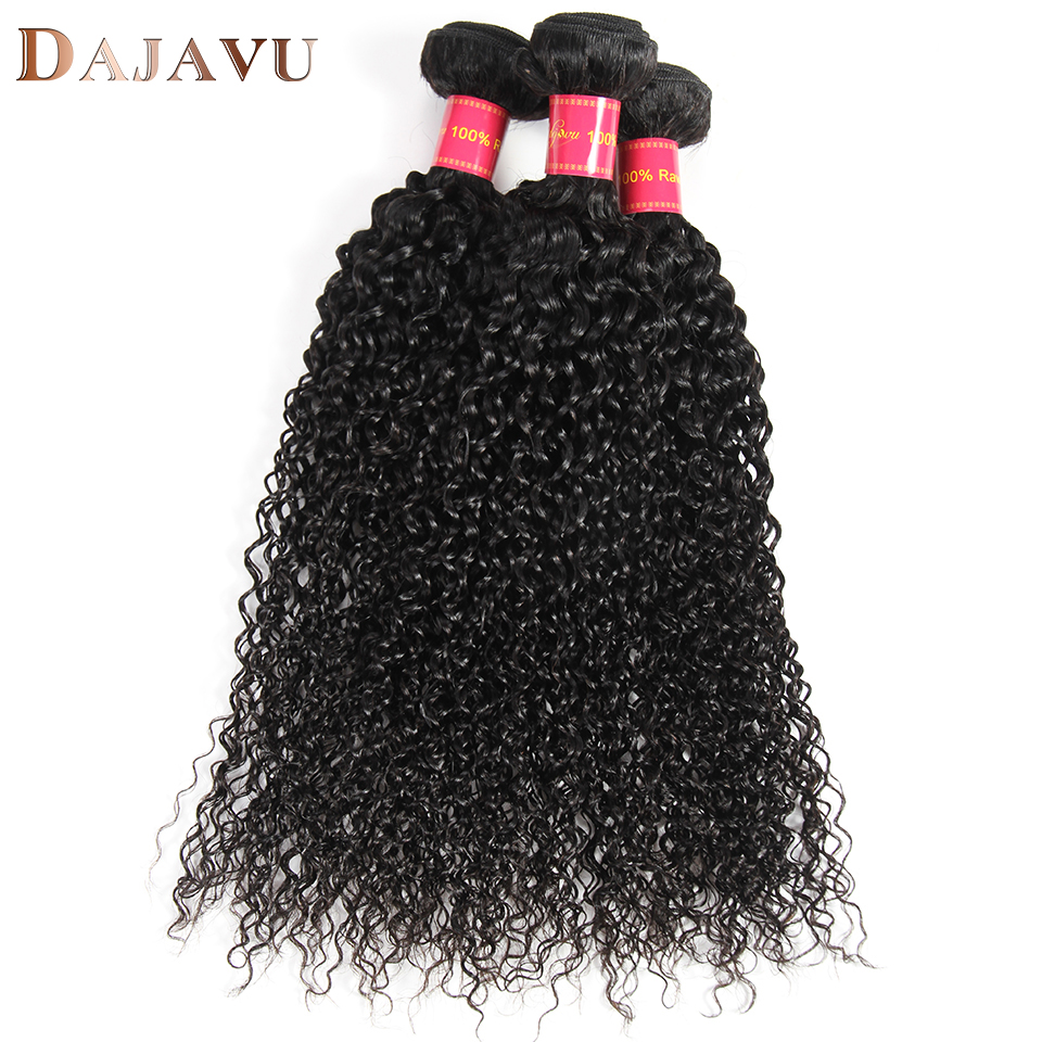 Dejavu Human Hair Weave Kinky Curly #1B Natural Black Color 3 Piece 8-26 inch Brazilian Non-remy Hair Extension Free Shipping