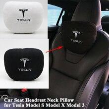 Şekillendirme bellek yumuşak rahat araba koltuğu kafalık boyun yastık minderi koruyun Logo aksesuarları Tesla Model S için Model X modeli 3