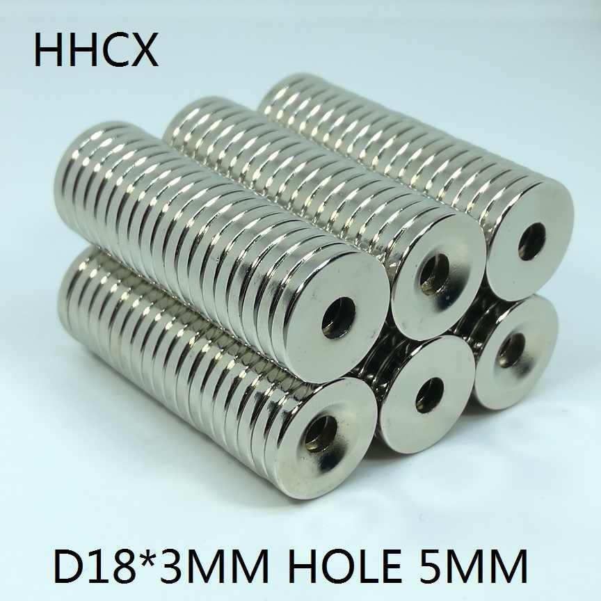 10 шт./лот дисковый Магнит 18*3 мм отверстие 5 N35 Сильный D потайной магнит NdFeB 18x3