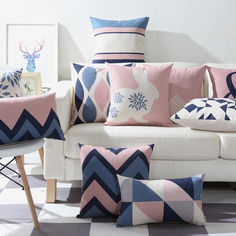 Drop Ship Pink Blue Geometric Pillow Cover Home Decor
