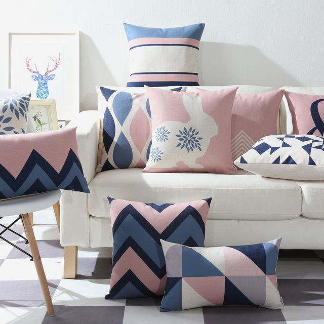 Drop Ship Pink Blue Geometric Pillow Cover Home Decor Cushion Case Sofa Cushions Decorative Throw Pillows 45x45cm