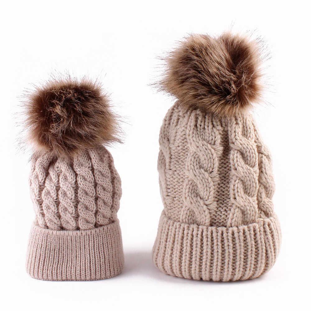 5 colores, gorro para mamá y bebé con pompón, cálido Gorro con pompón de piel de mapache, gorro tejido de algodón para niños, gorros de invierno, regalo de Navidad