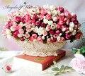 Осень 15 главы/букет малый бутон розы прицветник моделирования шелковые цветы розы декоративные Цветы украшения Дома для Свадьбы