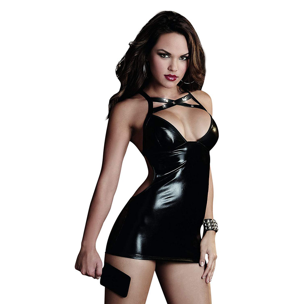 High Quality Adult Womens Black Shiny Metallic Party Sexy Deep Neck Cosplay Skirt Costume Female Latex Fullbody Dress Costumes