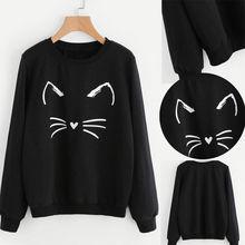 Hirigin Cat Women Sweatshirts Autumn Warm Long Sleeve