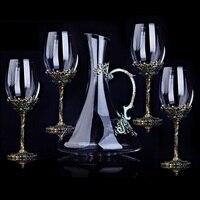5 шт. Набор Графин и стакан для вина красный Linde Металл Кристалл Стекло красное вино набор бокал Подарочная коробка шампанское виски стекло
