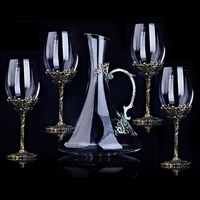 5pcs set Wine Glass Decanter Red Linde Metal Crystal Glass Red Wine Set Goblet Gift box Champagne Whiskey glass 350ml/1500ml