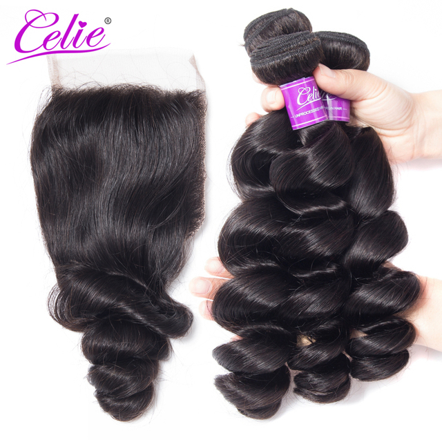 Celie Brazil Tóc Weave Gói Với Ren Đóng Cửa Remy Tóc Con Người 3 Bó Giao Dịch 4 cái/lốc Bó Sóng Lỏng Lẻo Với đóng cửa