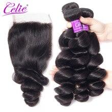 Celie Brazilian Hair Weave Bundles With Lace Closure Remy Human Hair 3 Bundle Deals 4 Pcs/Lot Loose Wave Bundles With Closure
