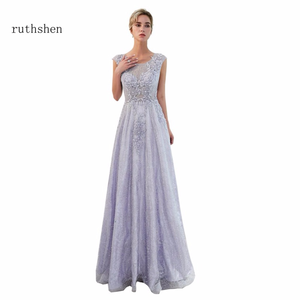 ruthshen Light Purpe Floor Length   Evening     Dresses   Luxury 2018 Long Beaded Cap Sleeves A Line Ladies Formal Prom Gowns 2018