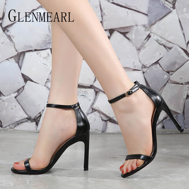 Brand Women Sandals Summer Shoes High Heels Leather Peep Toes Buckle Strap Woman Party Shoes Black Sandalia Mujer New Arrival DE