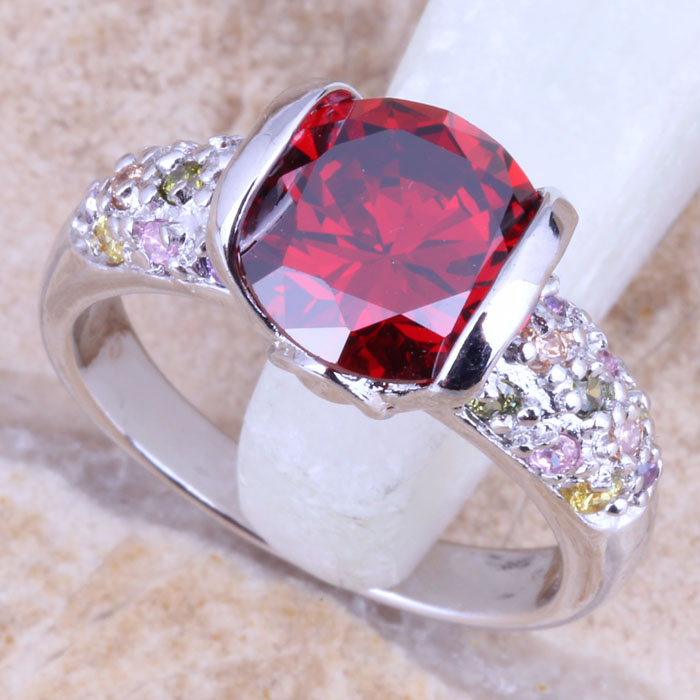 Brilliant Multicolor Multigem Silver Stamped 925 Ring Size 6 / 7 / 8 / 9 R1510
