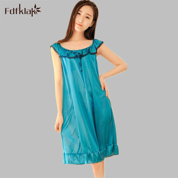 Women sexy sleepwear short sleeve nightdress female   nightgown   summer dress faux silk   sleepshirts   ladies night dresses A402