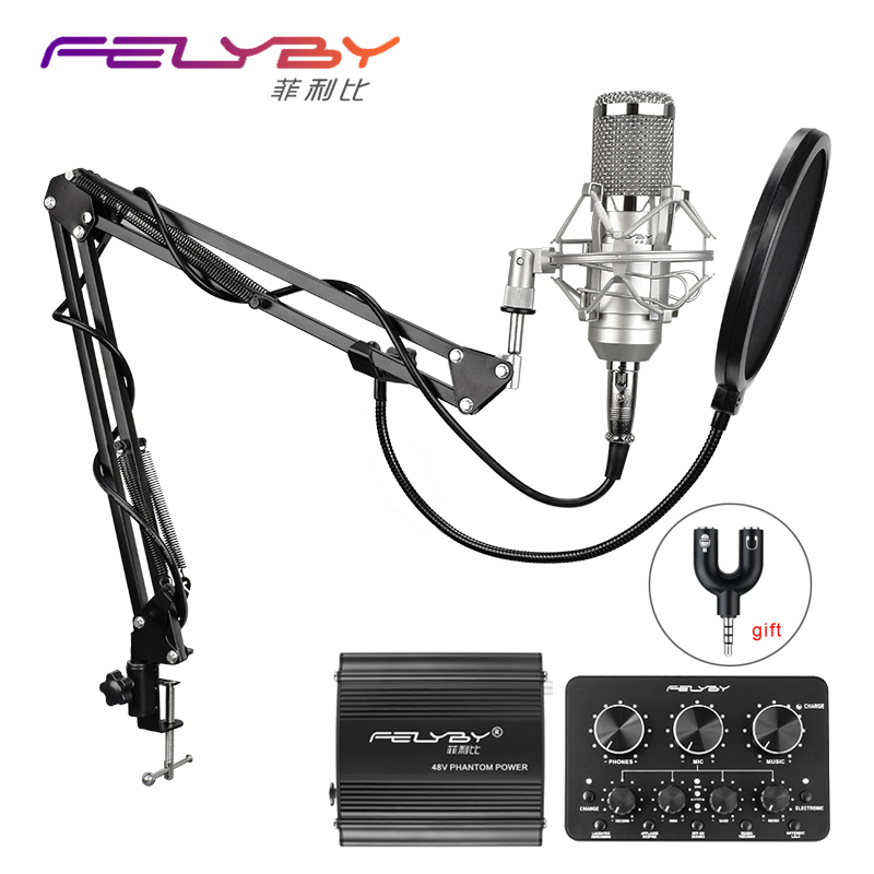 FELYBY bm 800 Professional condenser microphone for computer audio studio vocal Rrecording karaoke Mic Phantom power Sound card hot full set metal condenser microphone bm 800 bm 800 48v phantom power u type usb sound card studio mic computer microphone