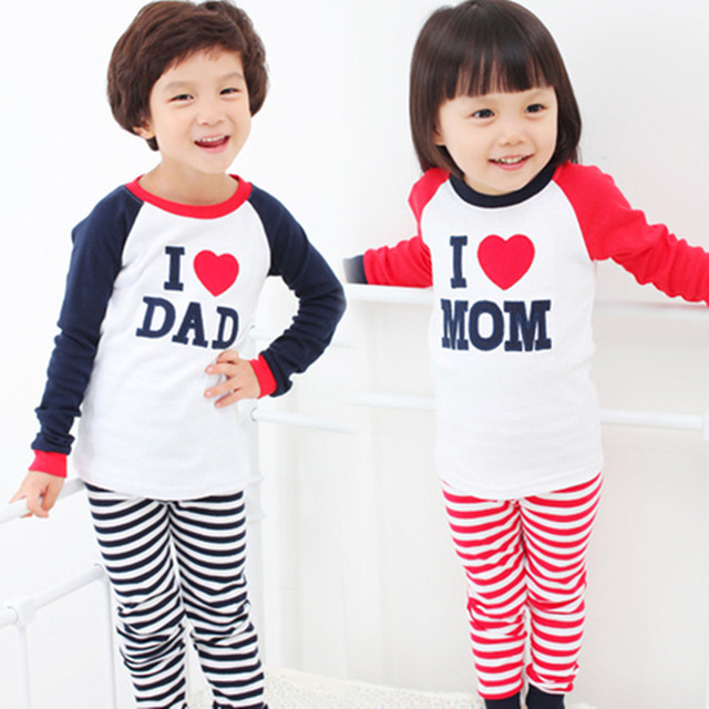 Retail 1set! 2014 Children Clothing Autumn Set boys girls I Love Papa and Mama long sleeve t-shirt+pants suit kids pajamas set