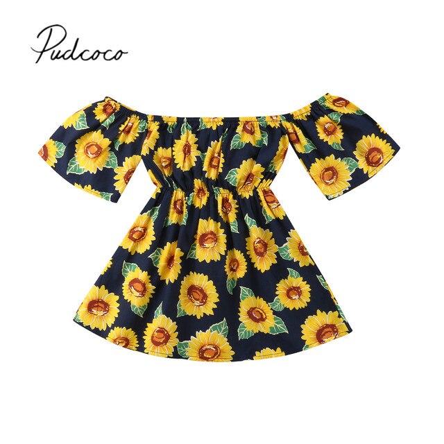 9c6ff99cd 2018 Brand New 1-6Y Toddler Infant Kids Baby Girls Summer Dress Off  Shoulder Sunflower A-Line Dress Child Shortsleeve Sundress