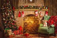 KIDNIU 7x5ft Or 5X3ft Christmas Tree Children Gift Photo Backdrops Vinyl Fireplace Photography Background Christmas124