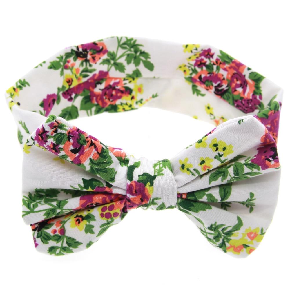 TWDVS Kids Printing Flower Bow Knot Elasticity Pannband Nyfött - Kläder tillbehör - Foto 5