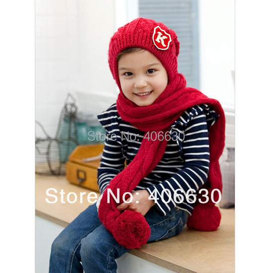 Winter Children Conjoined Beanies Hats For Girls Kids Beanies Caps Scarf Skullies Free Shipping IV-052