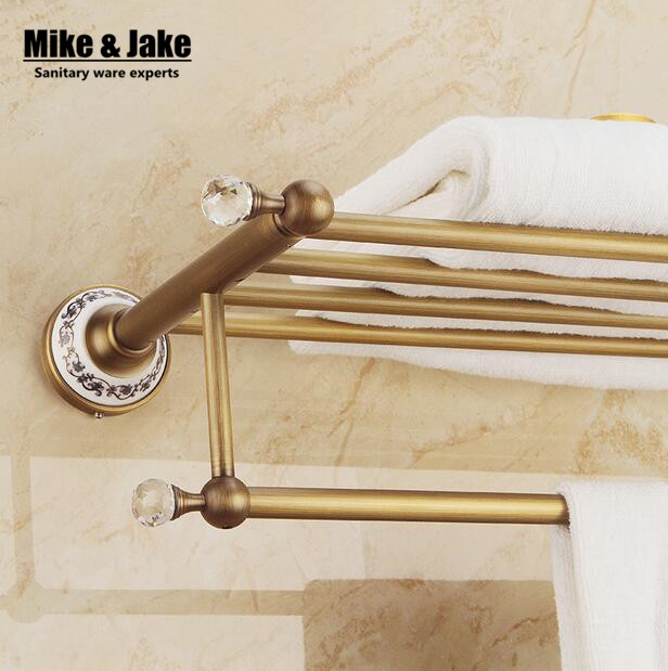 Whole brass crystal towel shelf Antique brass bath towel rack Active rack bathroom towel holder Antique Double towel shelf new arrivals square antique fixed bath towel holder solid brass towel rack holder for hotel or home bathroom storage rack shelf