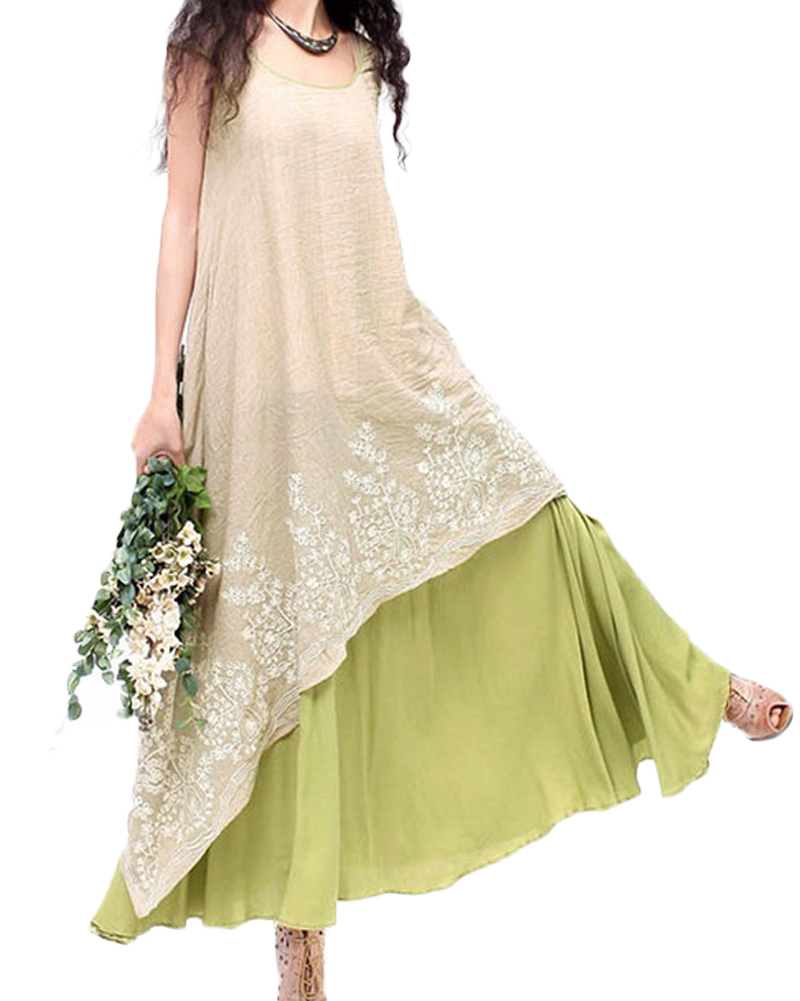 Floral Embroidery Casual Maxi Dress 1