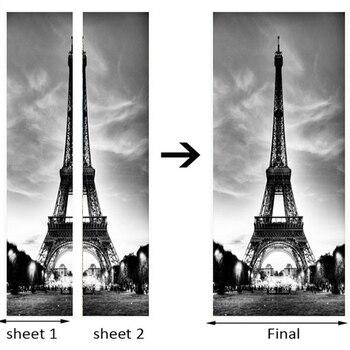Черно-белая железная башня наклейка на дверь Современная креативная гостиная ресторан 3D настенная наклейка ПВХ водонепроницаемые обои 3D д...