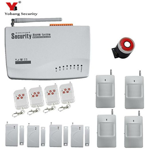 YobangSecurity  GSM Alarm Sistem 443Mhz Home Burglar Security Alarm System Wired Siren PIR Detector Door Window Sensor Alarm Kit yobangsecurity 2016 wifi gsm gprs home security alarm system with ip camera app control wired siren pir door alarm sensor