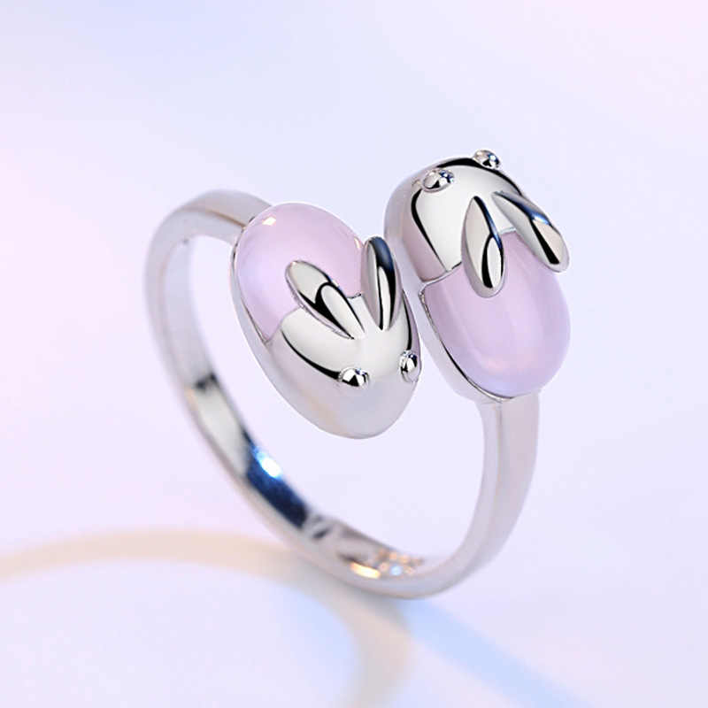 2019 New Cute 925 Sterling Silver Rabbit Rings Girls Little Minimalist Moonstone Ring Stackable Children Jewerly SR007