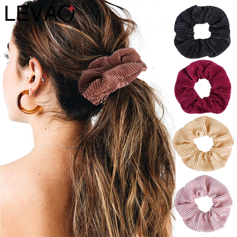 LEVAO Fashion Women Solid Scrunchies Pleated Simple Elastic Headbands Satin Hairbands Girls Hair Tie Hair Rope Hair Accessories