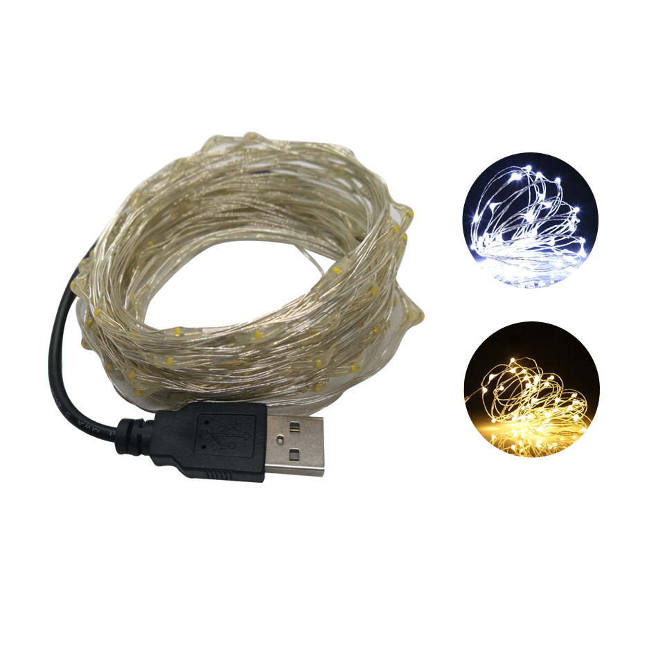 1/2/5/10M 10-100LEDs Holiday Light Christmas Garland Copper Wire LED String Lamp Fairy Lights For Indoor Xmas Wedding Decoration