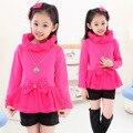 Girls New Winter Wear Lace and Velvet Shirt Children Thick Long Sleeved Kids T-shirt