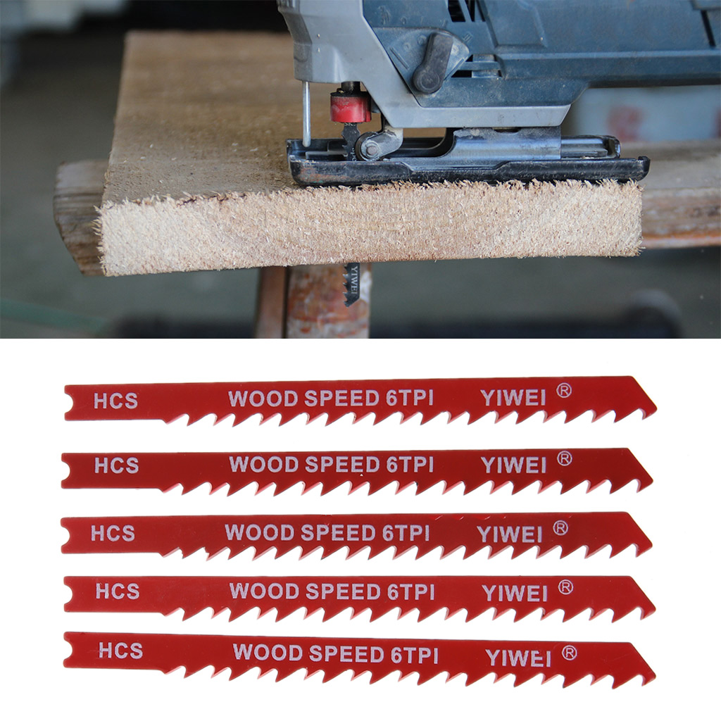 5pcs/set Durable U-shank High Carbon Steel 6 Tpi Reciprocating Saw Blade Cutter For Wood Jig Cutting