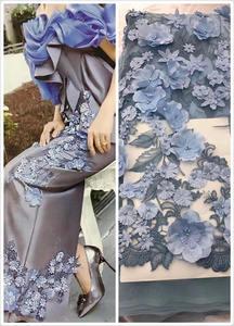 Image 3 - 5 ヤードライトブルーピンクアイボリーマルチ色 3D レース生地ブルー花刺繍レースの生地 3D 花