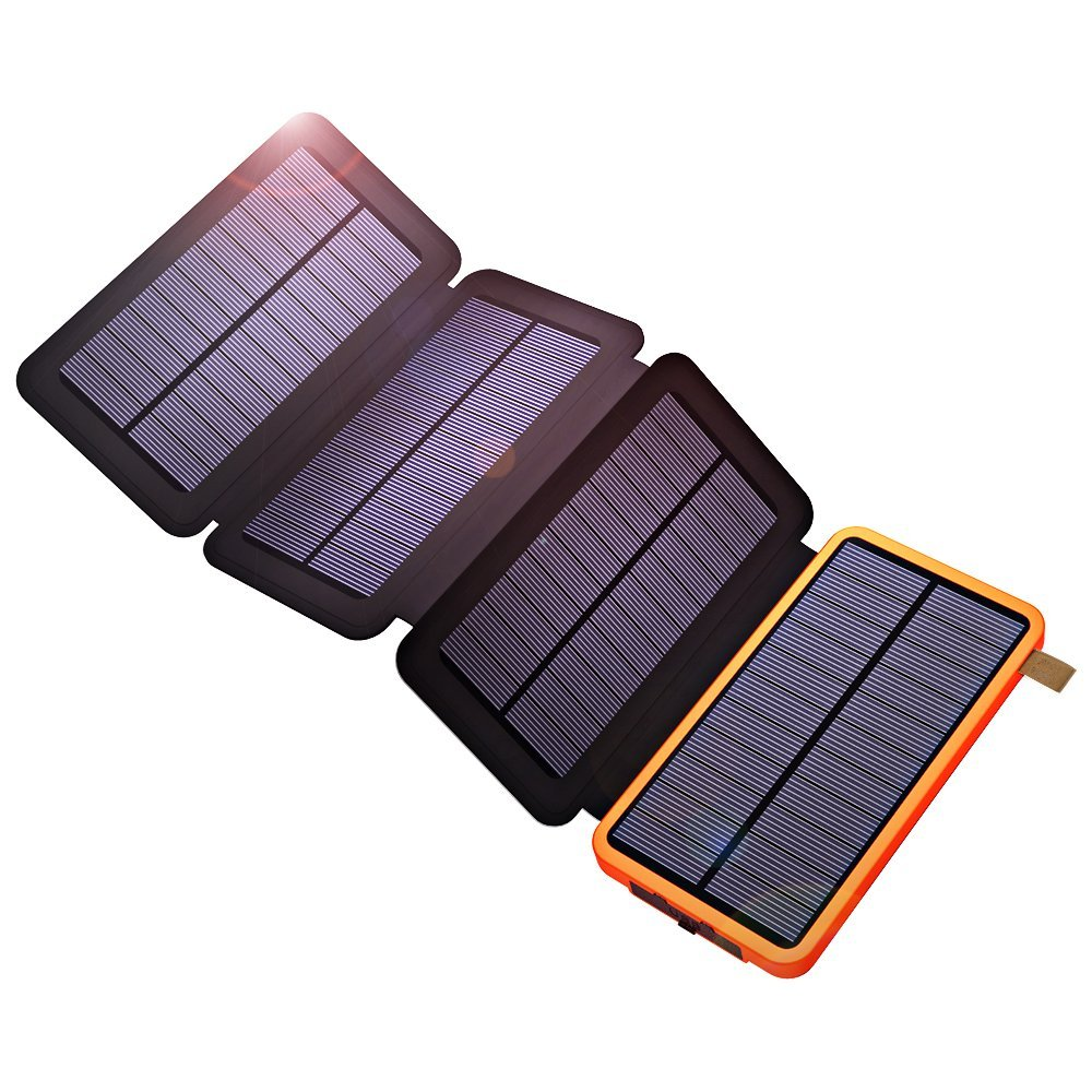 10000mAh Solar Power Bank Waterproof Dual USB Portable Solar Power Charger for iPhone iPad Samsung Xiaomi Outdoors Camping