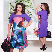 Big size 6XL 2016 Summer Dress woman Fashion butterfly printing Dresses Casual plus size women clothing