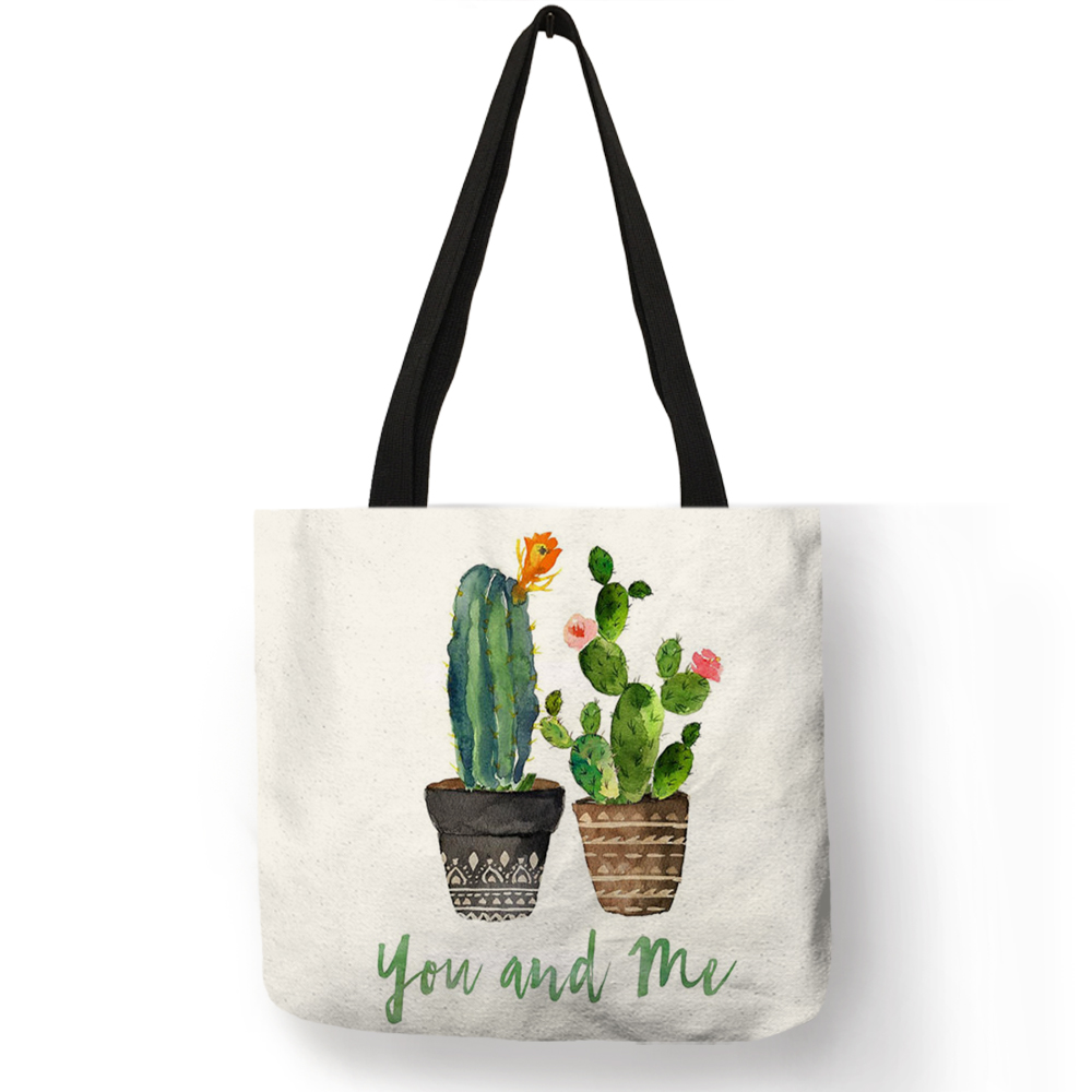 все цены на 2018 Fashion Hot Watercolor Plant Linen Bag With Cactus Print Multi Use Tote Bag Shopping Bags For Women Lady Dropshipping