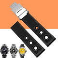 AOTU 22mm New Black Waterproof Diving Silicone Rubber Watch Straps Fold Buckle for Breitling AVENGER SUPEROCEAN Watch+ Tools