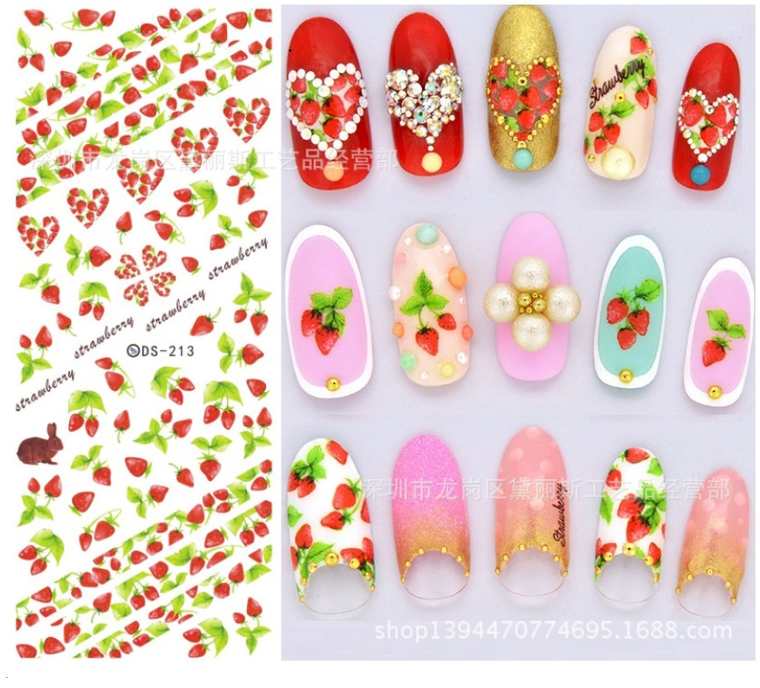 japanese summer nail art stickers water transfer cartoon fruit nail ...