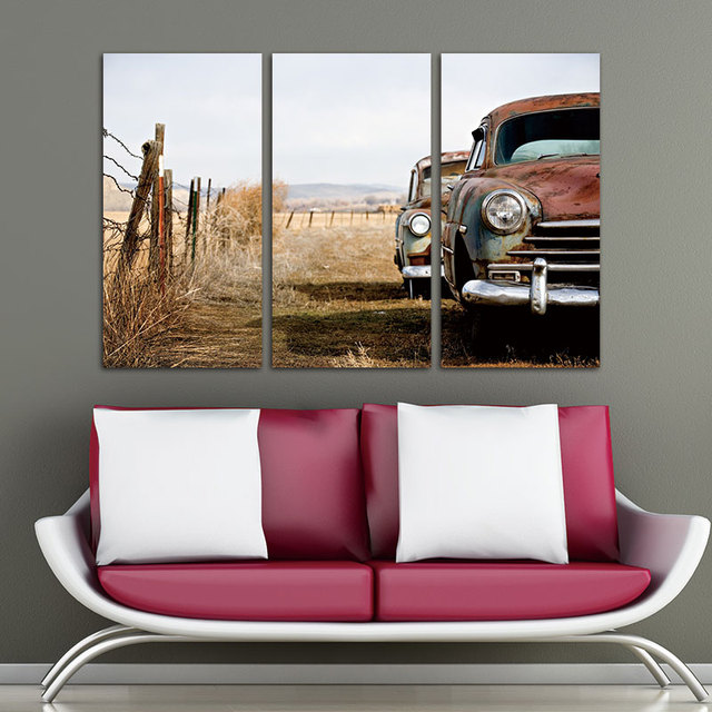 Canvas Print Wall Art Painting vintage Cars Abandoned and Rusting ...