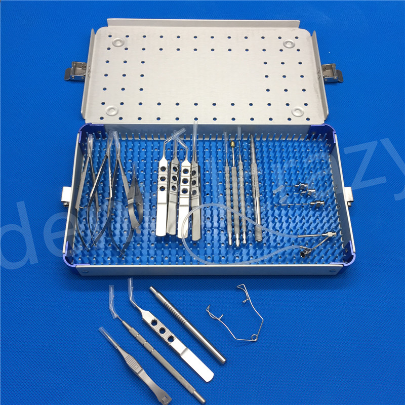 21pcs/Set Best Ophthalmic Cataract Eye Micro Surgery Surgical Instruments with case box childhood cataract