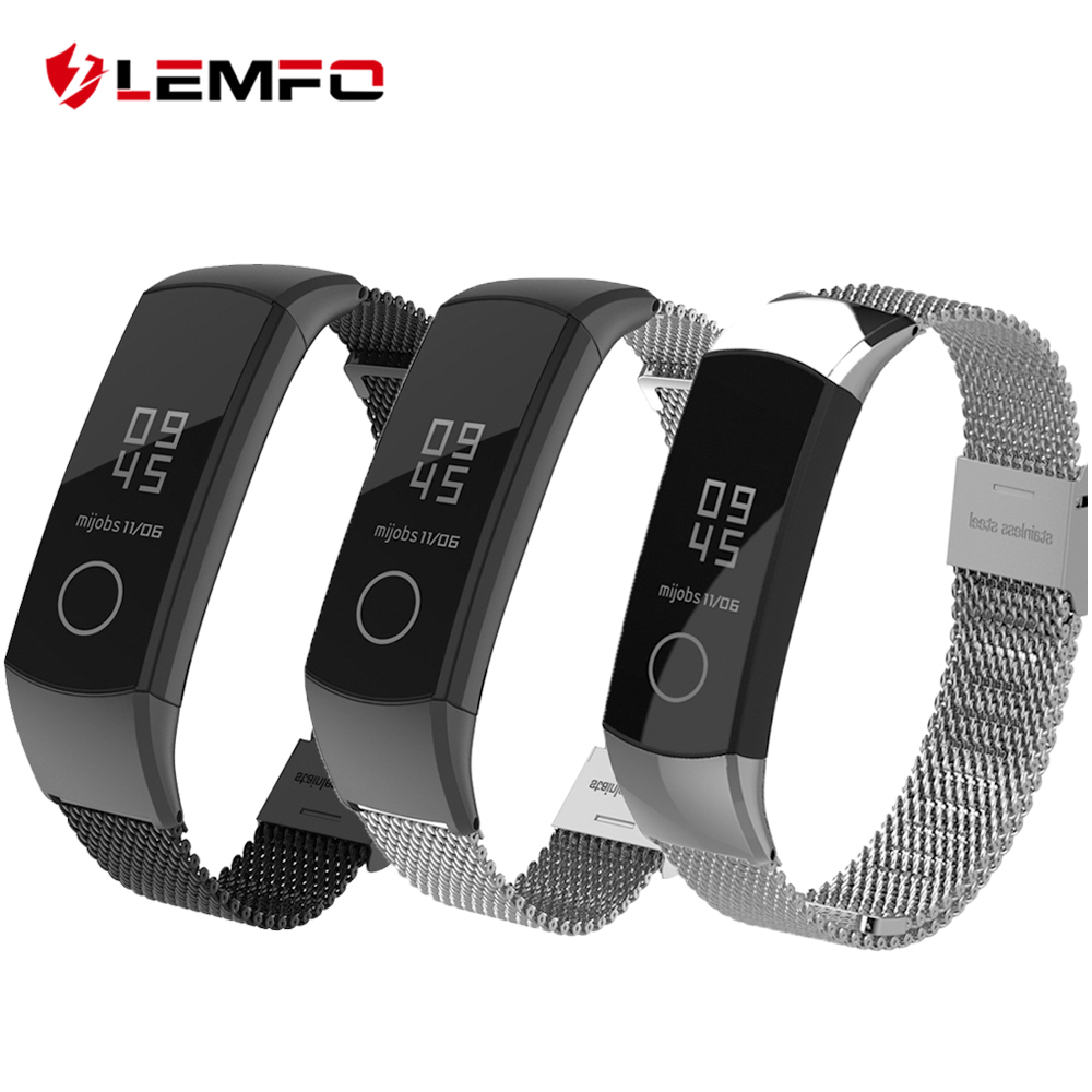 LEMFO Smart Accessories For Huawei Honor Band 4 Strap Anti-Lost Replacement Milanese Steel Bracelet Precision Mesh Band 5 Strap