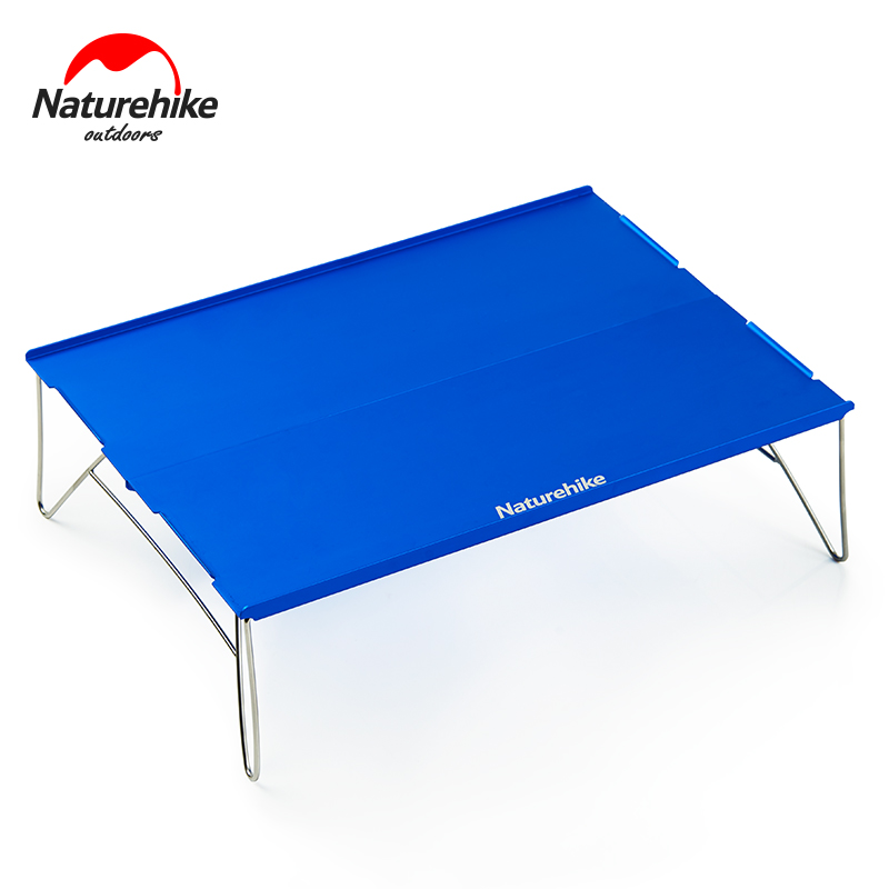 Naturehike Aluminum Alloy Table Outdoor Durable Light Folding Stainless Steel Desk Camping Portable Tea Table 2 Colors naturehike outdoor foldable mini desk portable picnic table camping aluminum alloy table folding stainless steel desk