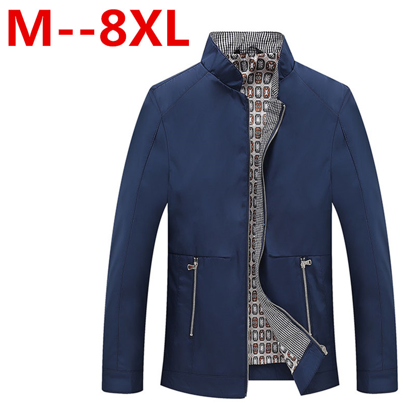 Plus size 9XL 8XL 6XL 5XL Men's Jacket Spring Autumn Fashion Overcoat 2017 New Arrival Stand Collar Slim Casual Style Whole Sale