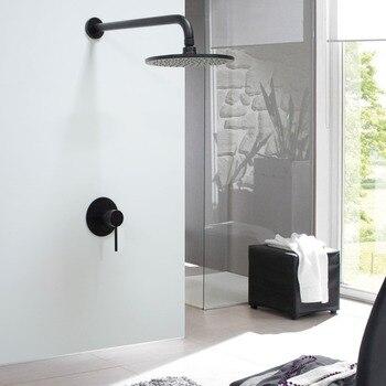MTTUZK ensemble de douche dissimulé en laiton massif noir/Chrome pour salle de bain ensemble de bras de douche avec pomme de douche de 8
