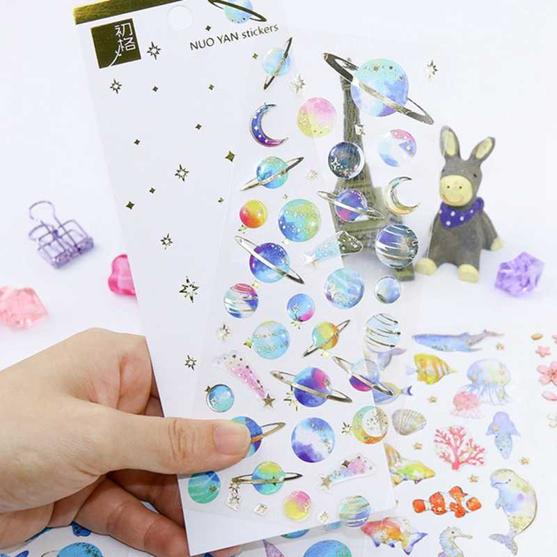 Marine Life Universe Girl Animal Stickers 3D Mobile Phone Book Diary Scrapbook Anime Sticker Classic Toy For Child Birthday Gift