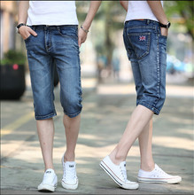 2015 new men's denim Shorts the knee length casual men shorts men's jeans shorts Plus Size 28-36